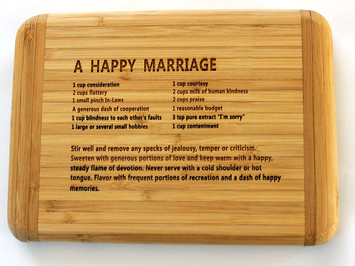 Happy Marriage Cutting Board ~ By The Bay Creations