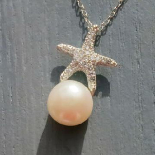 Pave Starfish with Pearl Necklace