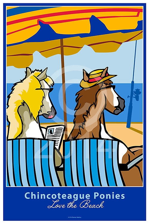 Chincoteague Ponies Love the Beach Poster ~ Ramon Matheu