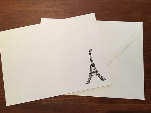 Raised Black Ink Eiffel Tower Notecards set of 10