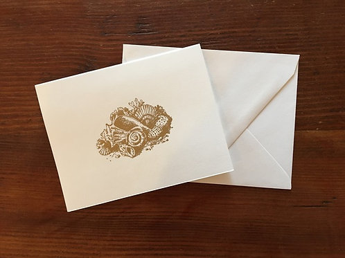 Raised Gold Seashell Notecards set of 8