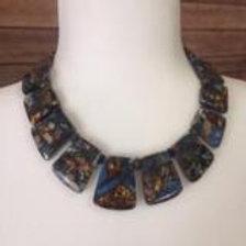 Blue and Bronzite Impression Jasper Necklace