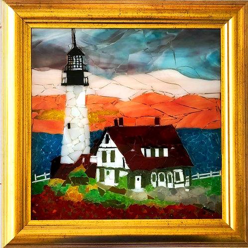 """""""Portland Head Lighthouse""""  #83  Sea Glass Art ~ Mary Lou Powers"""