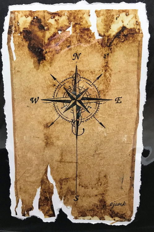 Tea Bag Art ~ Compass