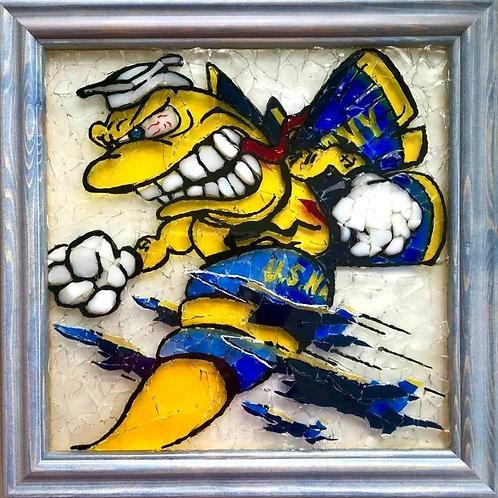 """""""Blue Angel's F-18 Hornet"""" #95 Sea Glass Art ~ Mary Lou Powers"""