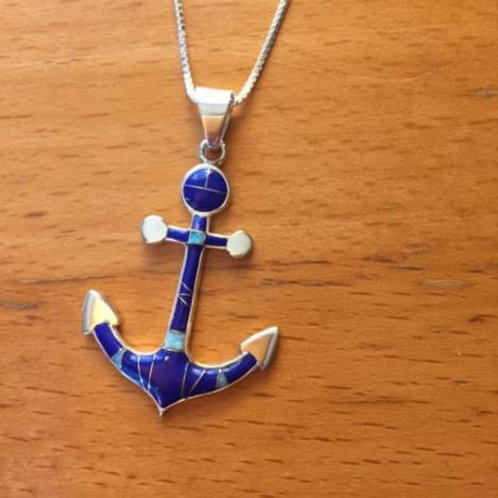 Anchor Inlayed Stone Necklace