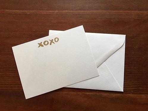 Raised Gold XOXO Notecards set of 10