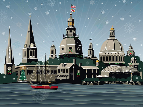 Snowy Annapolis Holiday Art Print