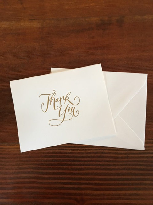 Raised Gold Thank You Notecards set of 8