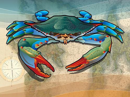 Coastal Blue Crab Art Print ~ Citizen Pride