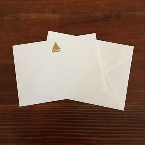 Raised Gold Sailboat Notecards set of 10