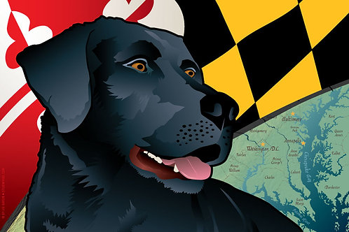 Maryland Black Lab Art Print ~ Citizen Pride