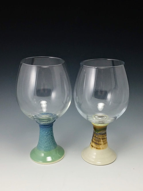 Wine Glass with Pottery Base