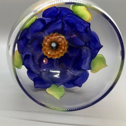 Wine Glass / Water Goblet - Blue Hydrangea ~ Liz Sork Designs