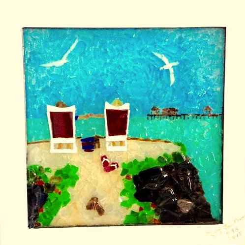 """Simply Paradise"" #43  Sea Glass Art ~ Mary Lou Powers"