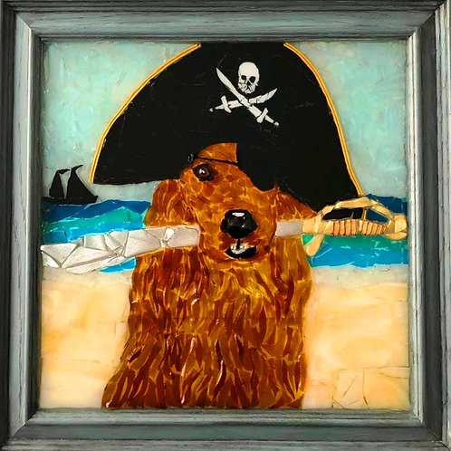 """""""Golden The Pirate"""" #79 Sea Glass Art ~ Mary Lou Powers"""