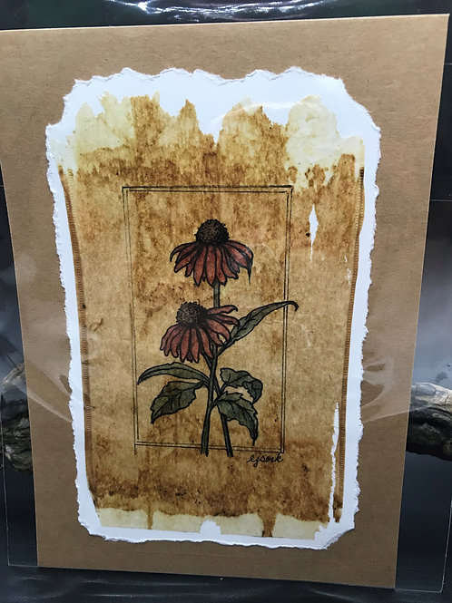 Tea Bag Art ~ 2 Coneflowers