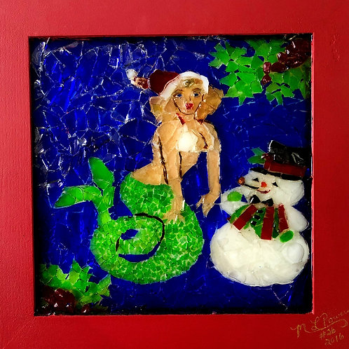 """""""Marilyn Meets Frosty"""" #26 Sea Glass Art  ~ by Mary Lou Powers"""