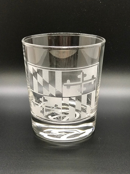 Maryland  Flag Etched Glass - CRG