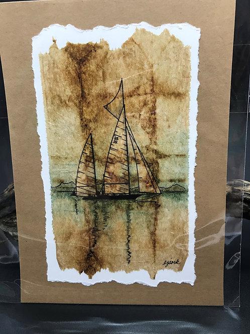 Tea Bag Art ~ Sloop
