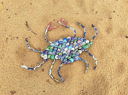 Bottle Cap Crabs in Blues