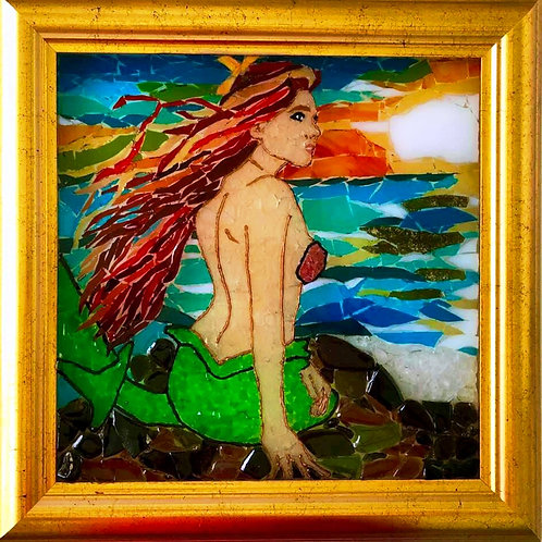 """Enchanting Mermaid"" #81  Sea Glass Art ~ Mary Lou Powers"