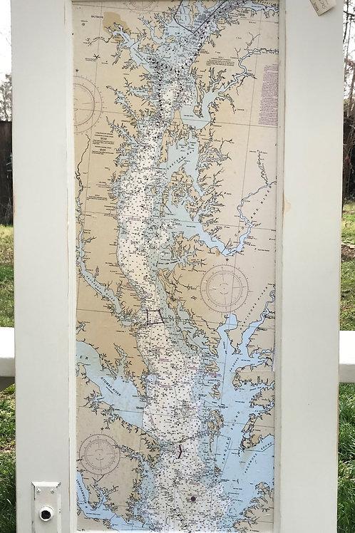The Chesapeake Bay Map/Vintage Door Panel ~Resouled by Marilyn