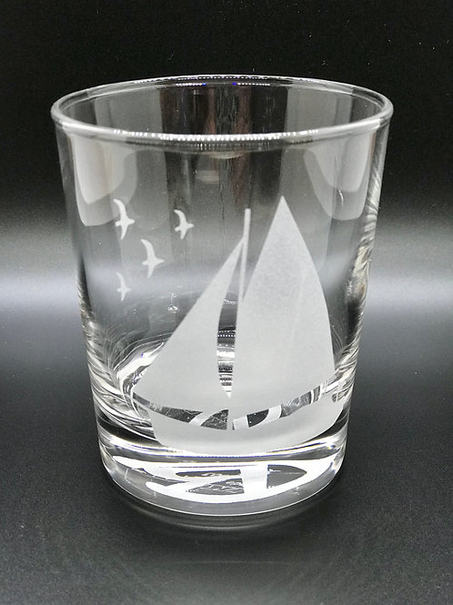 Crazy Ray Sailboat Etched Glass