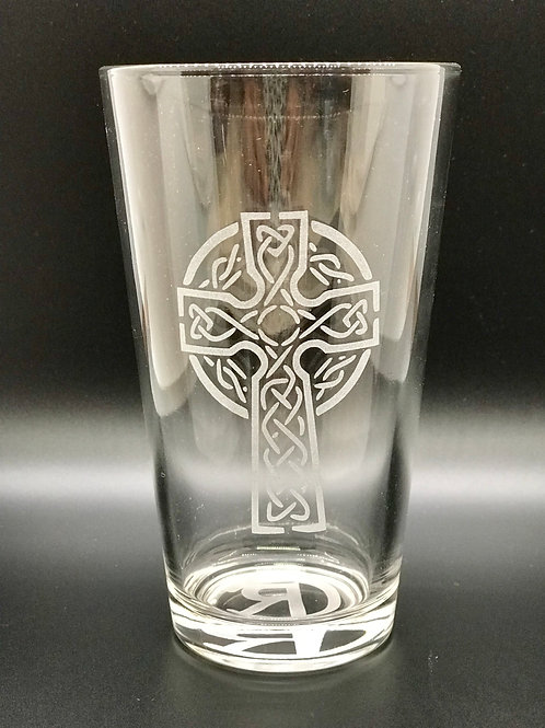 Crazy Ray Celtic Cross Etched Glass