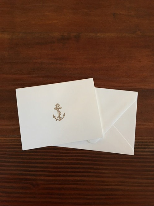 Raised Platinum Anchor Notecards set of 8