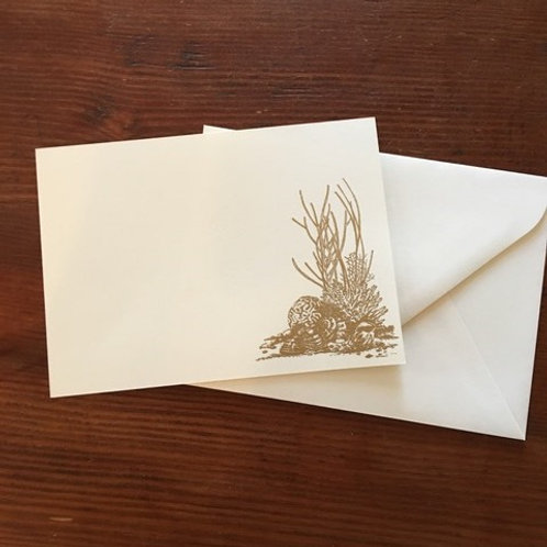 Raised Gold Coral Notecards set of 10