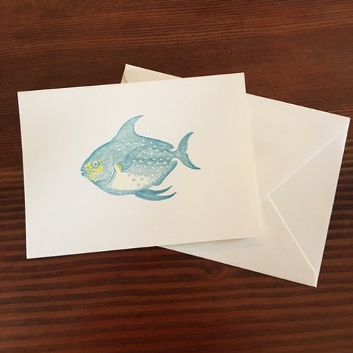 Raised Teal Blue Fish Notecards set of 8