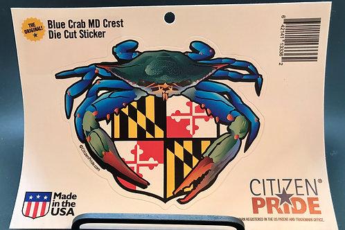 Blue Crab with Crest Sticker