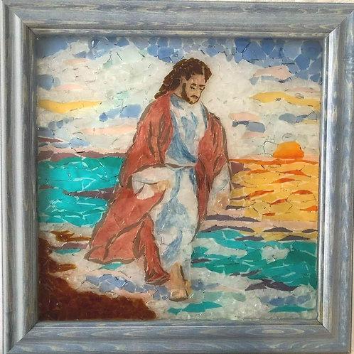 """Our Savior"" #75 Sea Glass Art ~ Mary Lou Powers"