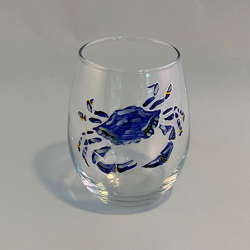 Wine Glass Stemless Hand painted ~ Chesapeake Bay Co