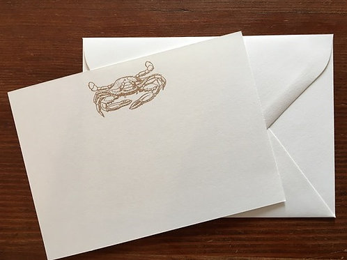 Raised Gold Crab Notecards set of 10