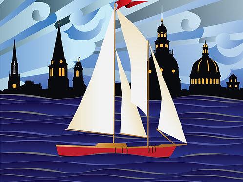 Annapolis Red Sailboat Coastal Art Print ~ Citizen Pride