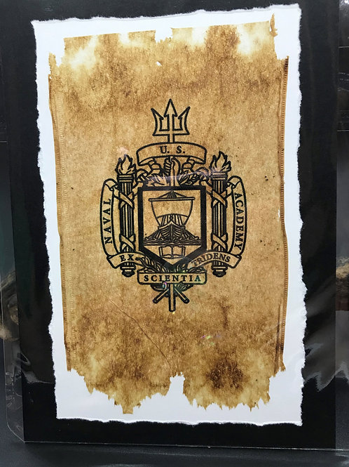 Tea Bag Art ~ Naval Academy Crest
