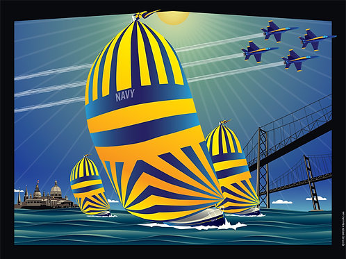USNA High Noon Sails Art Print