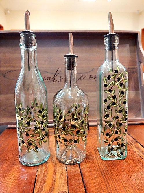 Olive Oil Bottle Hand Painted ~ Liz Sork Designs