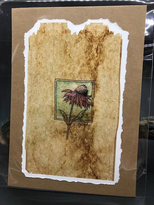 Tea Bag Art ~ Single Coneflower
