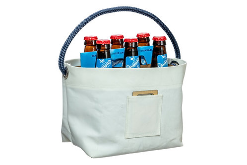 6 Pack Carrier made with Retired Sails w/ bottle opener