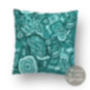 Agate design, in turquoise, seen as a cushion mock up ©Whitebryonydesigns