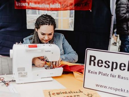 Banneraktion beim Maifeiertag in Gelsenkirchen