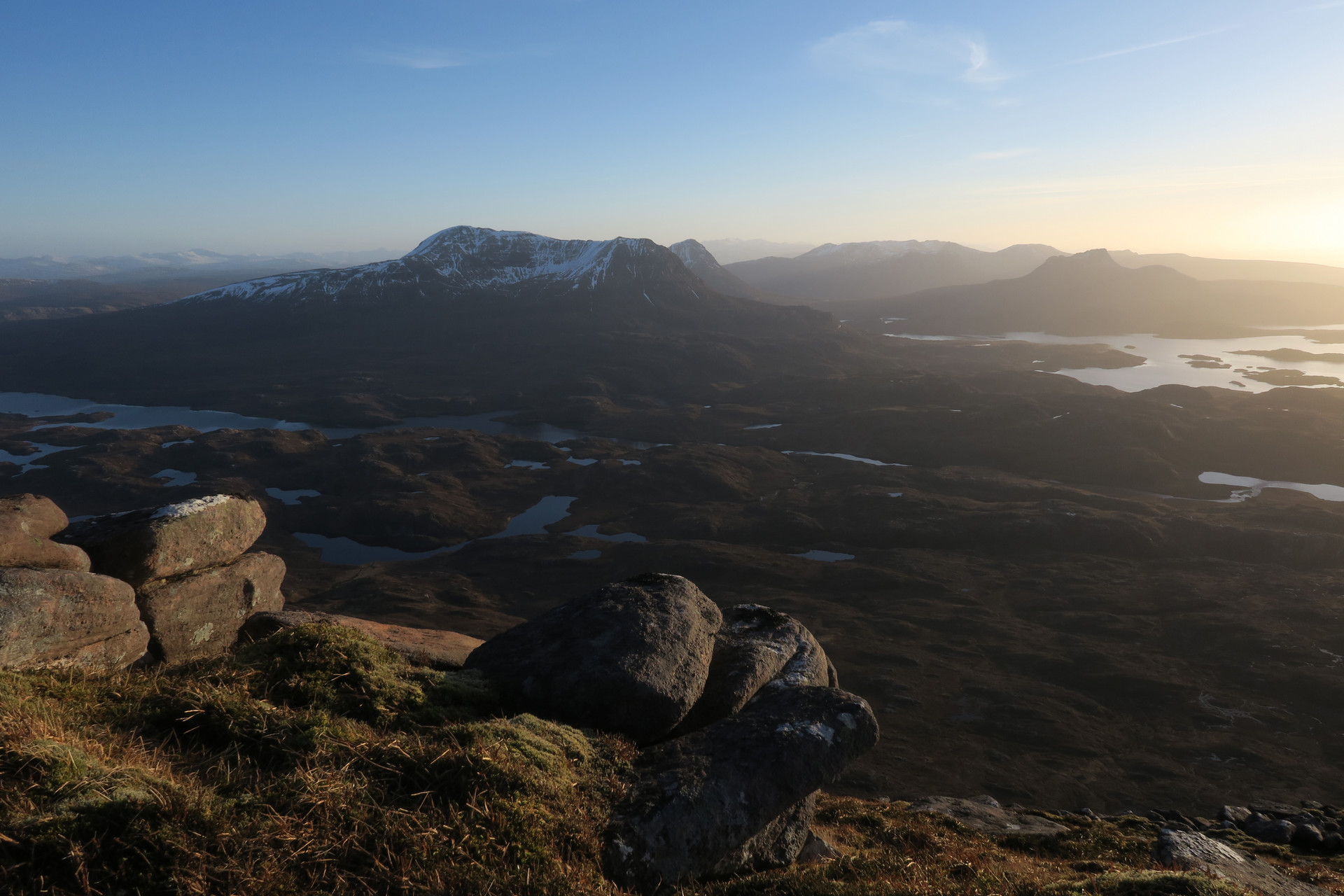 Cul Mor and Loch Sionascaig from Bealach Mor, Suilven