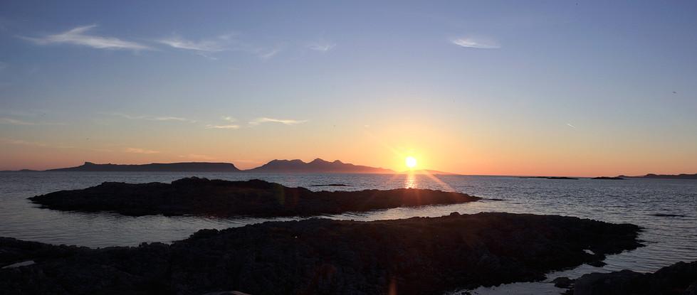 Sunset over Rùm from Arasaig beach