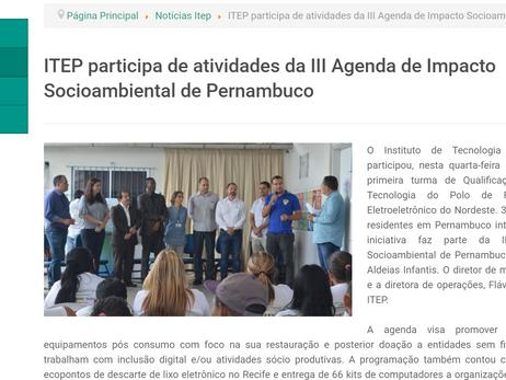 ITEP participa de atividades da III Agenda de Impacto Socioambiental de Pernambuco