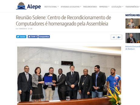 Reunião Solene: Centro de Recondicionamento de Computadores é homenageado pela Assembleia (25/06/2019)