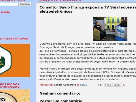Consultor Sávio França expõe na TV Sinal sobre reúso de eletroeletrônicos