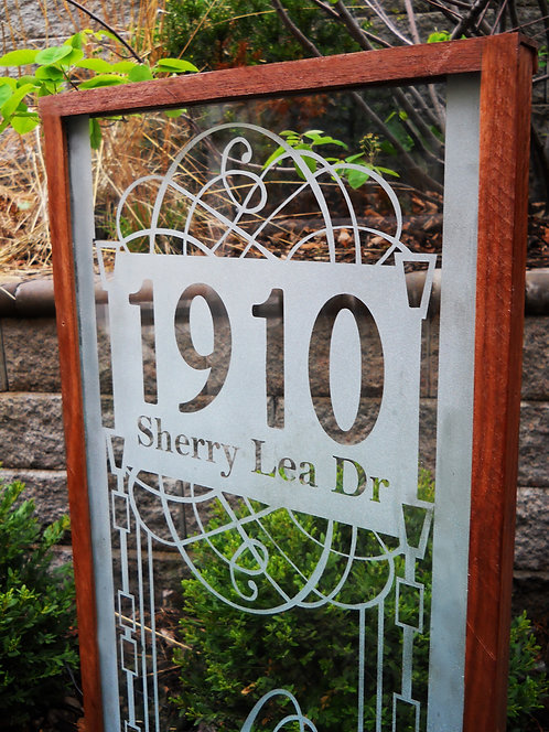 "Glass Address Sign - ""Sherry Lea"""